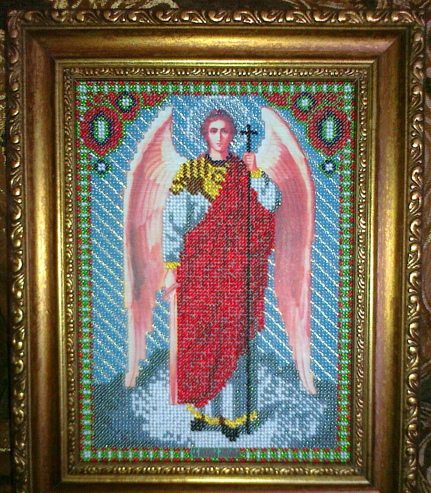 Михаил архангел икона вышивка бисером