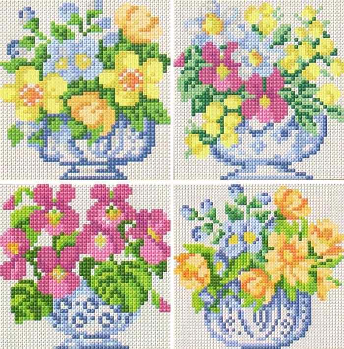 Схема вышивки крестом цветы для полотенца