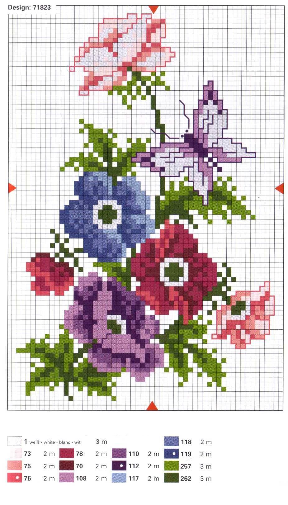 Крестик схемы на цветы