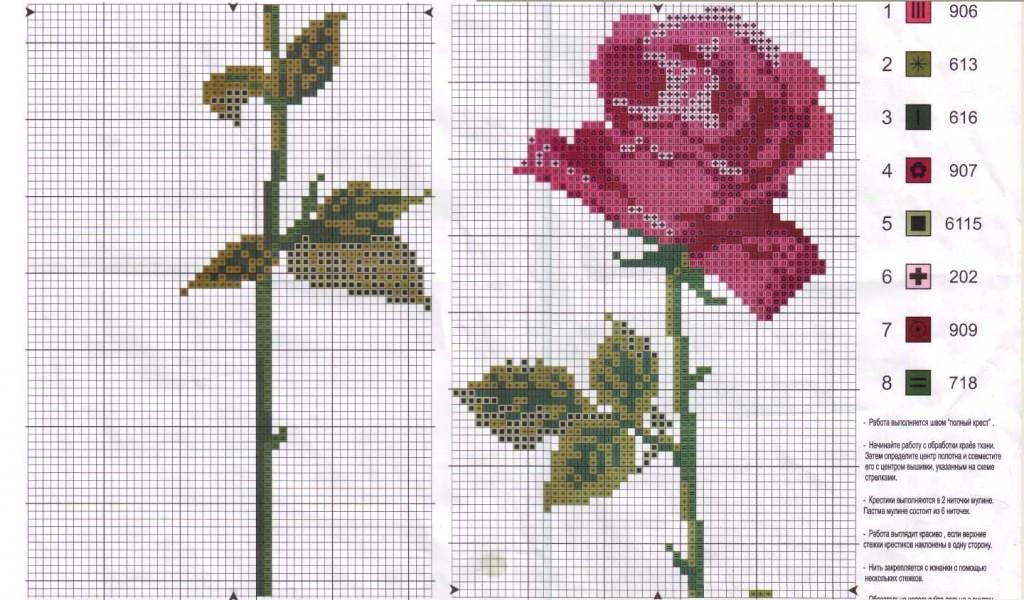 Схемы для вышивки крестиком цветы для начинающих схемы