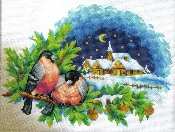 Вышивка крестом схемы снегирь бесплатно