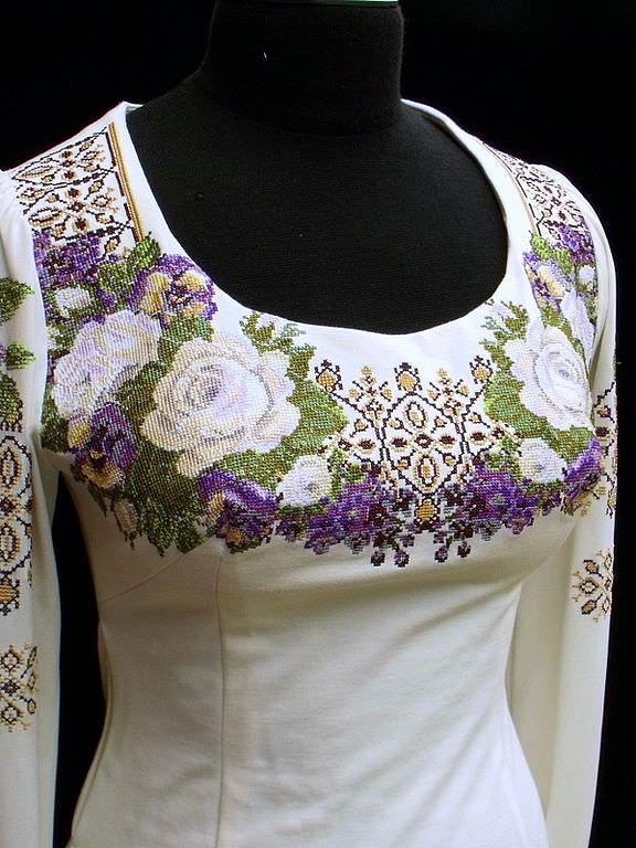 Вышивка крестиком для платья схема