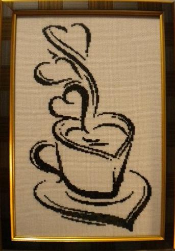 Схема вышивки кофе черно-белая