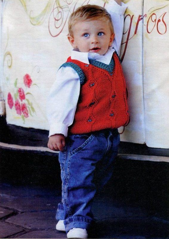 жилетка для мальчика спицами с описанием вязания схема